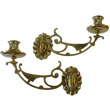 Sconces - Antique Winged Brass Piano Candle Sconces